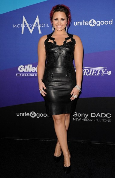 Demi Lovato Leather Dress [arrivals,unite4,humanity event,sony pictures studios]