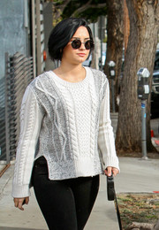 Demi Lovato was hippie-chic in her round sunnies while out and about.