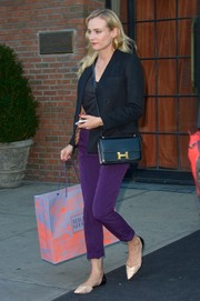 Diane Kruger sported comfy and stylish two-tone pointy flats while out shopping.