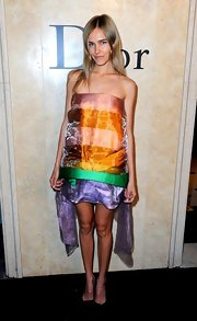 Isabel channeled Rainbow Brite in this colorful strapless organza number.