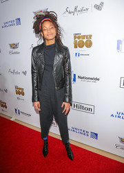 Willow Smith pulled her look together with a pair of pointy lace-up patent boots.