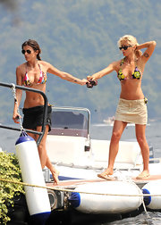 George Clooney's girlfriend Elisabetta Canalis flaunts her bod in this colorful halter top bikini.