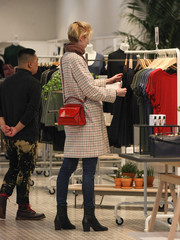 Elizabeth Debicki was spotted out in Beverly Hills dressed down in skinny jeans and a printed coat.