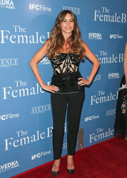 Sofia Vergara showed off her slim figure in an embellished black corset top by Pamella Roland at the premiere of 'The Female Brain.'