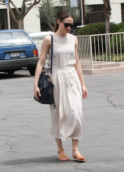 Emmy Rossum Leather Shoulder Bag