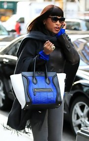 Eve was out and about in New York carrying a super-stylish tricolor Celine tote.
