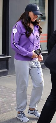Tamara Ecclestone kept her look casual and cool with a purple zip-up hoodie paired with sweatpants.