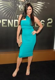 Christa stole the show in this single-shoulder aqua body con dress at the 'Expendables 2' premiere.