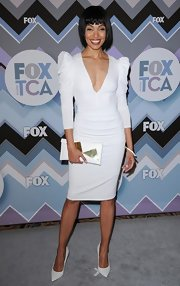 Tamara appeared to be channeling Rita Ora and Lady G in this white strong-shoulder dress at the Fox All-Star Party.