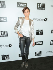 Maggie Grace attended the Survival Sunday: The Walking Dead and Fear the Walking Dead event wearing a silver blazer and black leather pants.