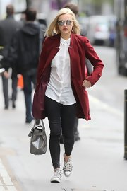 Fearne Cotton strolled to work wearing a pair of animal print canvas sneakers.