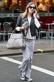 Fearne wears a striped maxi-skirt for this original style.
