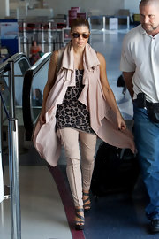 Fergie was airport chic in a leopard print tank at LAX.