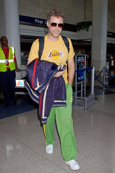 """Will shows his love for LA in adidas track pants and a yellow Lakers shirt. He is looking sharp with his """"Hunter"""" style sunglasses."""