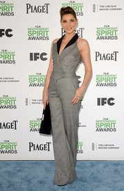 Clotilde Courau was '70s-chic in a sleeveless gray jumpsuit during the Film Independent Spirit Awards.