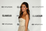 Eva Mendes Dons Metallic Gray Platform Pumps