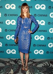Bella Heathcote looked vintage chic in a blue crochet dress at the GQ Men of the Year Awards.