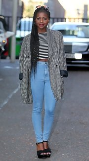 Gamu Nhengu's high-waisted jeans had a cool retro vibe that pulled her whole look together.
