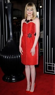 Emma Stone rocked an entire outfit of red in this strapless sweetheart dress with a bejeweled belt at the 'Gangster Squad' world premiere.