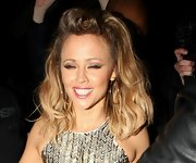 Kimberley Walsh's half-up half-down 'do looked a little disheveled after a night of clubbing.