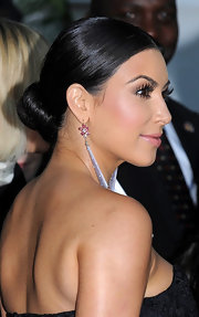 Kim Kardashian wore her hair in a tight and sleek bun at the Glamour Women of the Year Awards.