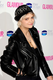 Pixie Geldof showed off her studded baseball hat while walking the red carpet at the Glamour Awards.