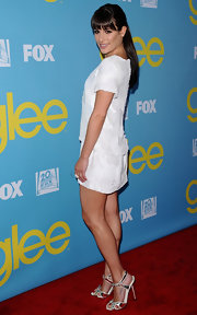 Lea Michele attended a screening of 'Glee' in a bright white shift with mirror-like silver sandals with white piping.