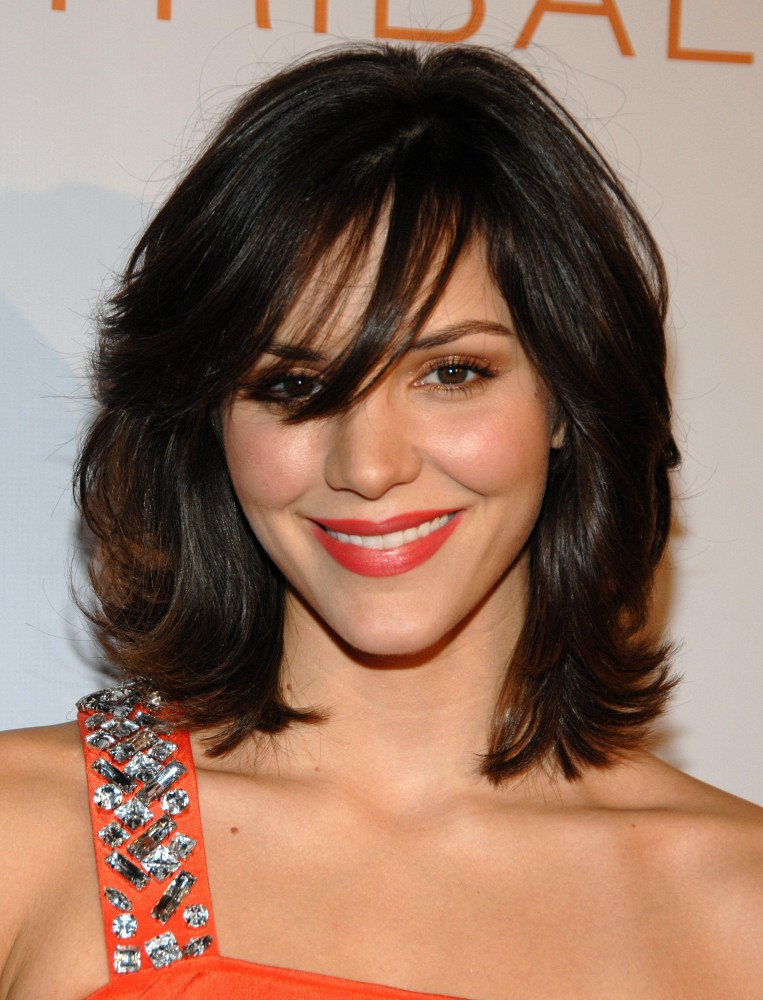 Shoulder length hairstyles for heart shaped faces : Katharine mcphee s medium length shag the best