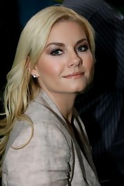 Elisha Cuthbert shined in metallic eyeshadow during an appearance on 'Good Morning America.'