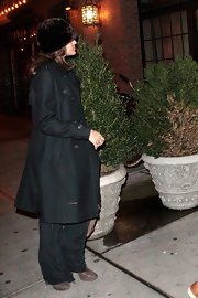 Eva Mendes stayed chic in NYC in a long black wool coat.