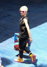 Gwen Stefani was spotted out and about wearing a fun pair of color-block basketball sneakers.