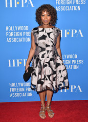 Alfre Woodard donned a jacquard cocktail dress for the HFPA Grants Banquet.