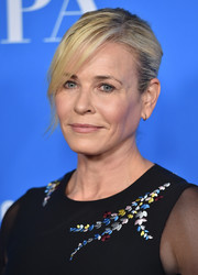 Chelsea Handler attended the HFPA Grants Banquet wearing her hair in a bun with side-swept bangs.