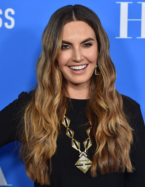 Elizabeth Chambers showed off long lush waves at the HFPA Grants Banquet.