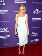 Heather Graham polished off her sleek look with silver ankle-strap sandals.