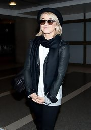 Julianne Hough kept her look casual and cool with a basic leather jacket.
