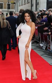 Chelsee Healty sported a long-sleeve, one-shoulder dress with a thigh-high slit at the 'Hummingbird' premiere in London.