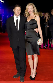 Rachel Roberts donned a classic black slip dress for the 'In Time' UK premiere.