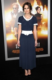 Keira Knightley exuded old-school elegance in a blue and white Chanel frock during the 'Jack Ryan: Shadow Recruit' LA premiere.