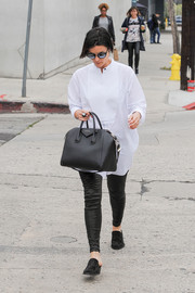 Jaimie Alexander was spotted out in LA looking cool in an oversized white tuxedo top and black leather skinnies.