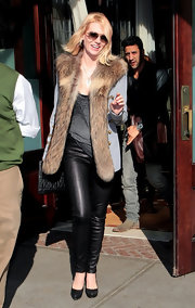 January Jones was spotted in this fur-trimmed wool coat for her appearance on 'Late Night with Jimmy Fallon.'