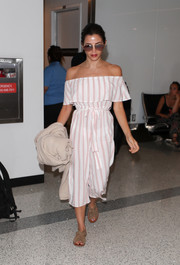 Jenna Dewan-Tatum looked airy in a cropped off-the-shoulder jumpsuit by Cotton On as she arrived on a flight at LAX.