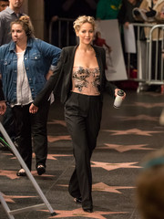 A bejeweled nude corset top gave Jennifer Lawrence's look a sexy punch.