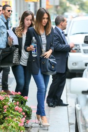 Jessica Alba was casual-chic in a gold-buttoned navy blazer teamed with skinny jeans while out and about.