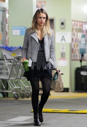 Jessica Alba stepped out for groceries looking very stylish in a gray IRO suede jacket layered over a printed mini.
