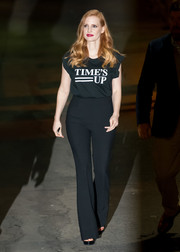 Jessica Chastain kept it casual in a black 'Time's Up' T-shirt while leaving 'Kimmel.'