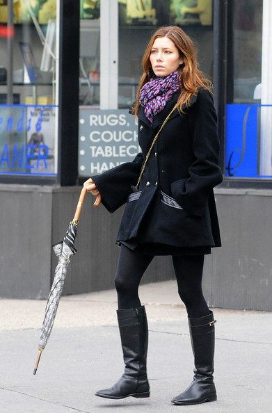 Jessica Biel was armed for rainy weather with a print umbrella as she took a stroll in the West Village.