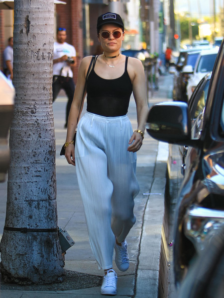 Jessie J turned heads on the streets of LA in a semi-sheer black camisole.