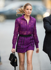 Joanne Froggatt looked flirty and chic in a sheer purple romper with long-sleeves and black piping along the pants while she made her way into 'Jimmy Kimmel Live'.