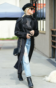 Julianne Hough stepped out in LA wearing a classic black trenchcoat.